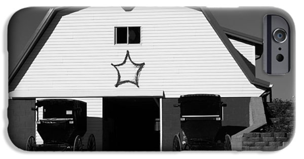Amish Family iPhone Cases - Black And White Amish Buggies And Barn iPhone Case by Dan Sproul
