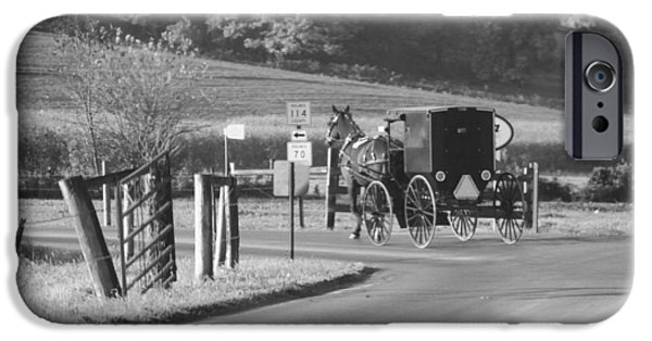 Horse And Buggy iPhone Cases - Black And White Amish Horse And Buggy iPhone Case by Dan Sproul