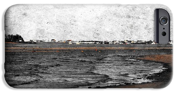 Sand Castles Digital Art iPhone Cases - Black and White Atlantic Ocean Beach Scene iPhone Case by Stephan Chagnon Laura  Carter
