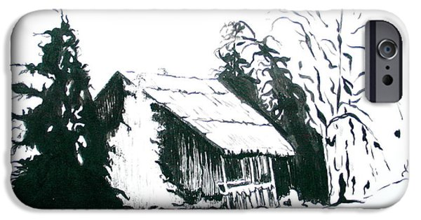 Old Barn Drawing iPhone Cases - Black and White Barn in Snow iPhone Case by Joyce Gebauer