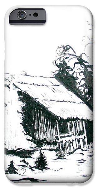 Black and White Barn in Snow iPhone Case by Joyce Gebauer