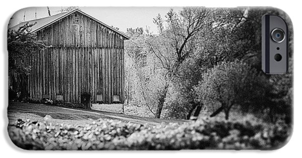 Old Barns iPhone Cases - Black and White Barn Landscape - In the Vineyard iPhone Case by Lisa Russo