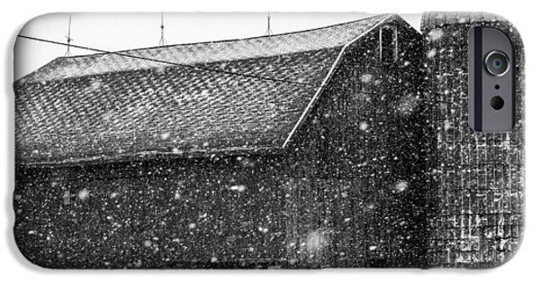 Snow Scene Landscape iPhone Cases - Black and White Barn iPhone Case by Tim Buisman
