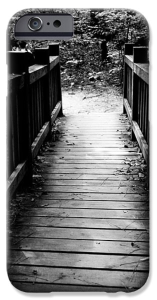 Autumn iPhone Cases - Black and White Bridge iPhone Case by Shelby  Young