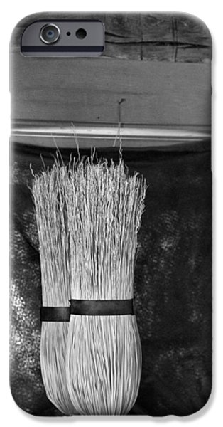 Chip iPhone Cases - Black And White Brooms iPhone Case by Dan Sproul