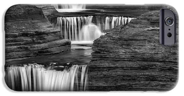 Watkins Glen iPhone Cases - Black And White Cascade Square iPhone Case by Bill  Wakeley