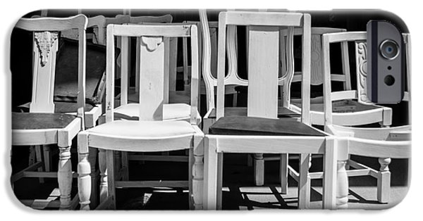 Ladder Back Chairs iPhone Cases - Black and White Chairs iPhone Case by Sonja Quintero