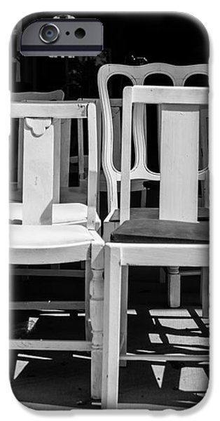 Black and White Chairs iPhone Case by Sonja Quintero