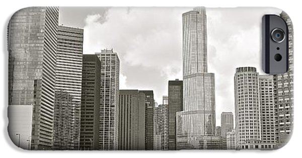 Wrigley iPhone Cases - Black and White Chicago Panoramic iPhone Case by Frozen in Time Fine Art Photography