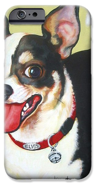 Chiwawa iPhone Cases - Black and White Chihuahua iPhone Case by Rebecca Korpita