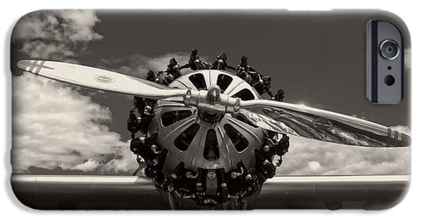 Airplanes Photographs iPhone Cases - Black and white Close-up Of Airplane Engine iPhone Case by Keith Webber Jr