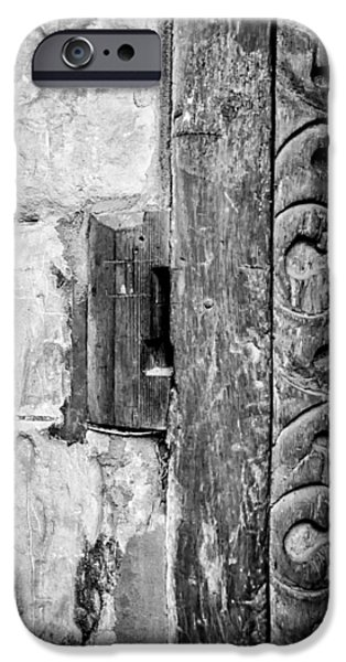 Ancient Scroll iPhone Cases - Black and White Door Pattern iPhone Case by Nomad Art And  Design
