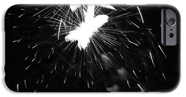 Fourth Of July iPhone Cases - Black And White Fireworks Explosion iPhone Case by Dan Sproul