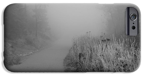 Great Mysteries iPhone Cases - Black And White Foggy Morning Walk iPhone Case by Dan Sproul
