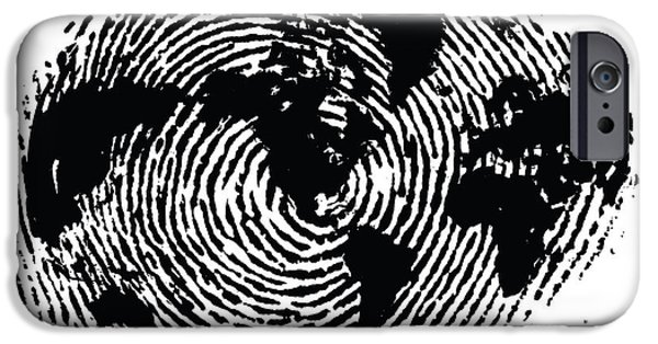 Earth Map Digital iPhone Cases - black and white ink print poster One of a Kind Global Fingerprint iPhone Case by Sassan Filsoof