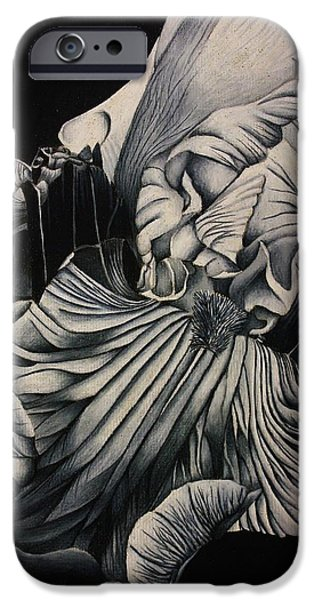 Flora Drawings iPhone Cases - Black and White Iris Study iPhone Case by Bruce Bley