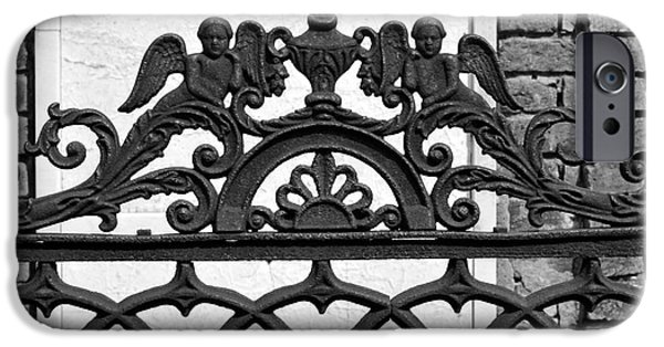 Statues Pyrography iPhone Cases - Black and White Ironwork iPhone Case by Alys Caviness-Gober