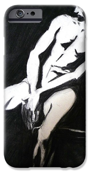 Male Nude Drawing Drawings iPhone Cases - Black and White iPhone Case by Joan  Jones