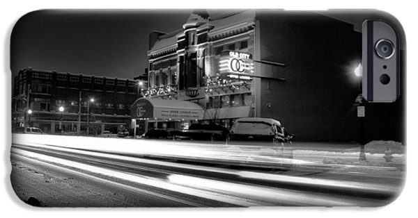 Snowy Night Photographs iPhone Cases - Black And White Light Painting Old City Prime iPhone Case by Dan Sproul