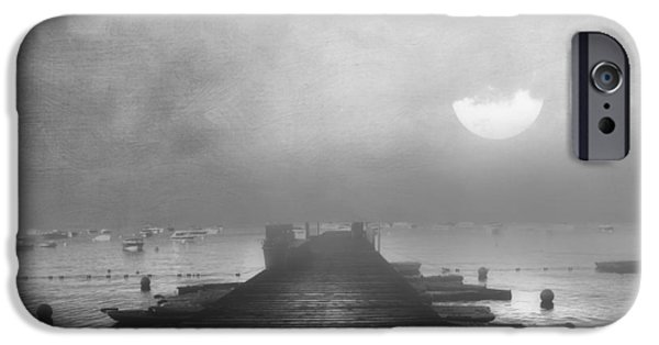 Zeana Romanovna iPhone Cases - Black and White Mystery- From The Moon To The Mist iPhone Case by Georgiana Romanovna