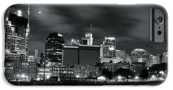 Nashville Skyline iPhone Cases - Black and White Nashville iPhone Case by Frozen in Time Fine Art Photography