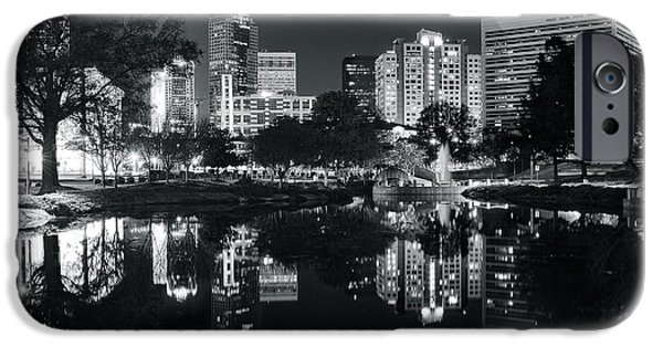 Charlotte iPhone Cases - Black and White Night in Charlotte iPhone Case by Frozen in Time Fine Art Photography