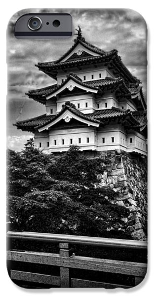 Pagoda iPhone Cases - Black and White of Hirosaki Castle in Japan iPhone Case by David Smith