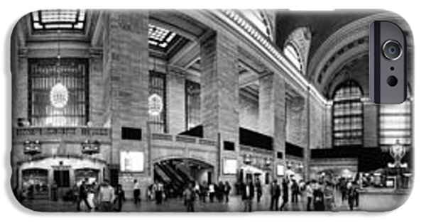 Panoramic iPhone Cases - Black and White Pano of Grand Central Station - NYC iPhone Case by David Smith