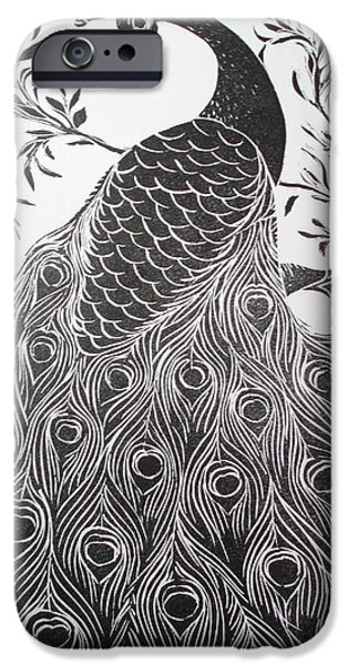 Bird Reliefs iPhone Cases - Black and White Peacock iPhone Case by Barbara Anna Cichocka