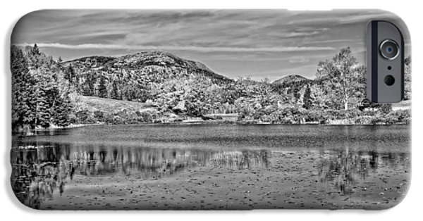 Maine iPhone Cases - Black And White Photo Of Long Pond Acadia National Park Maine iPhone Case by Keith Webber Jr