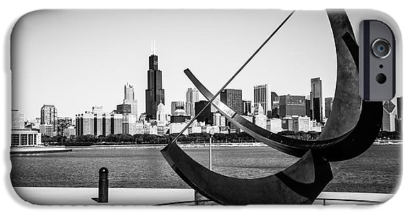 Sears Tower iPhone Cases - Black and White Picture of Adler Planetarium Sundial iPhone Case by Paul Velgos