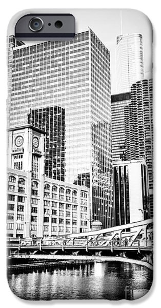 Quaker iPhone Cases - Black and White Picture of Chicago at LaSalle Bridge iPhone Case by Paul Velgos