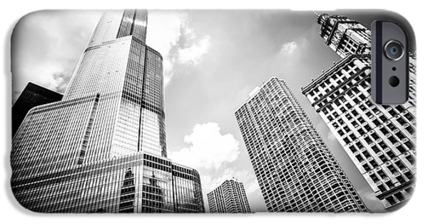 Wrigley iPhone Cases - Black and White Picture of Chicago New and Old Buildings iPhone Case by Paul Velgos