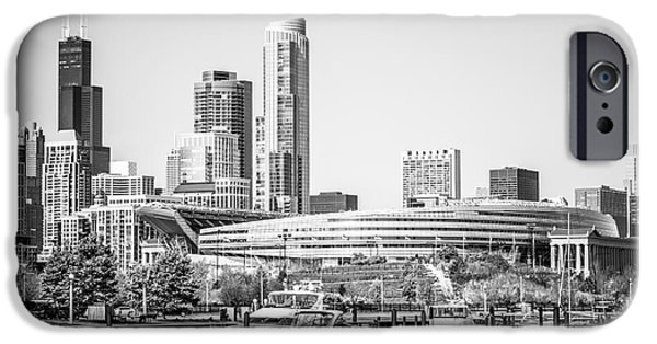 Soldier Field iPhone Cases - Black and White Picture of Chicago Skyline iPhone Case by Paul Velgos