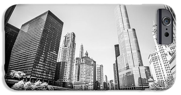 Wrigley iPhone Cases - Black and White Picture of Downtown Chicago iPhone Case by Paul Velgos