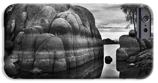 Prescott Arizona iPhone Cases - Black and White Rocks at Watson Lake near Prescott Arizona iPhone Case by Dave Dilli