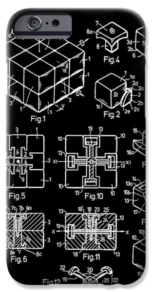 Rubiks Cube iPhone Cases - Black And White Rubiks Cube Patent iPhone Case by Dan Sproul