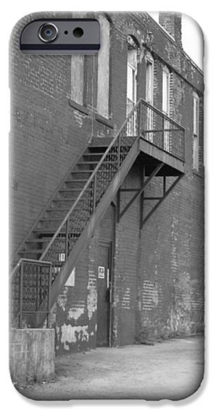 Boarded Up iPhone Cases - Black And White Stairs iPhone Case by Dan Sproul