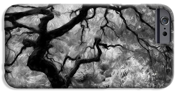 Tree Art Print Mixed Media iPhone Cases - Black and White Tree Art iPhone Case by Heinz G Mielke