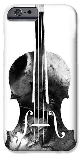 Violin iPhone Cases - Black And White Violin Art by Sharon Cummings iPhone Case by Sharon Cummings