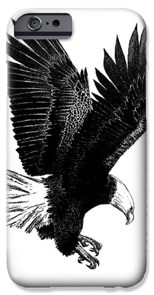 Drawing Of Eagle iPhone Cases - Black and White with Pen and Ink drawing of American Bald Eagle  iPhone Case by Mario  Perez