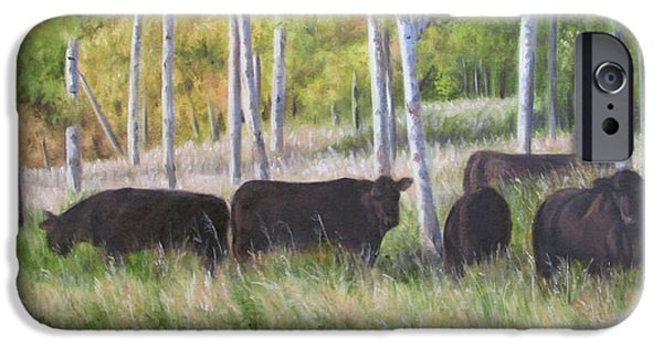Black Angus iPhone Cases - Black Angus Grazing iPhone Case by Tammy  Taylor