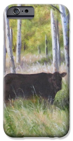 Black Angus Grazing iPhone Case by Tammy  Taylor