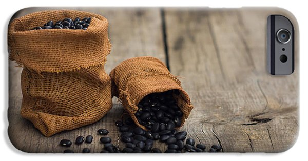 Crops iPhone Cases - Black Beans iPhone Case by Aged Pixel
