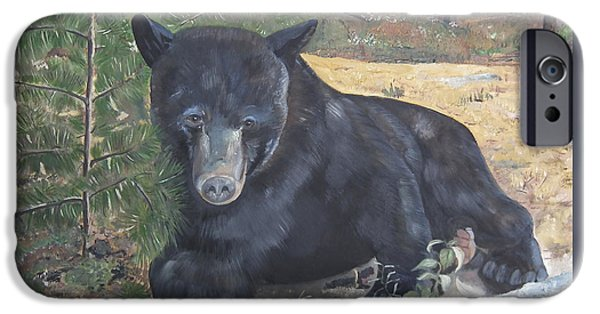 One iPhone Cases - Black Bear - Wildlife Art -Scruffy iPhone Case by Jan Dappen