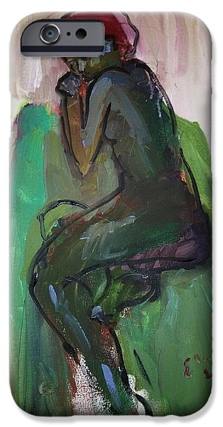 Contemplative Drawings iPhone Cases - Tania Dreaming iPhone Case by Elaine Schloss