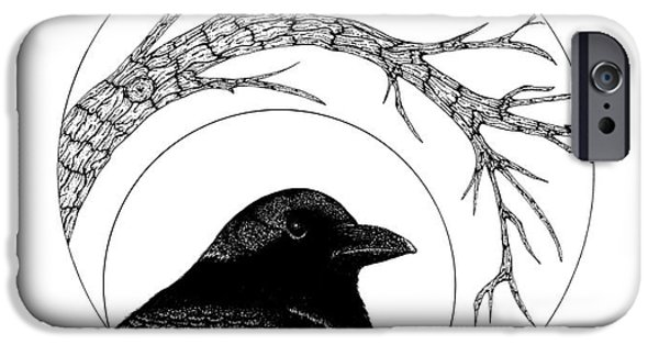 Pen And Ink iPhone Cases - Black bird iPhone Case by Billinda Brandli DeVillez