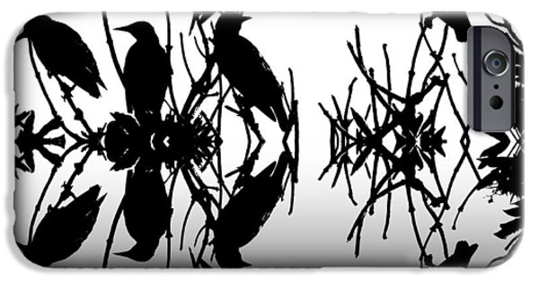 Black Top Digital Art iPhone Cases - Black Birds iPhone Case by Sharon Lisa Clarke