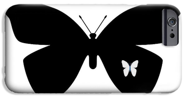 Multimedia iPhone Cases - Black Butterfly iPhone Case by Tina M Wenger