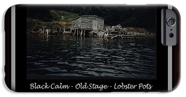 Shed Drawings iPhone Cases - Black Calm - Old Stage - Lobster Pots iPhone Case by Barbara Griffin